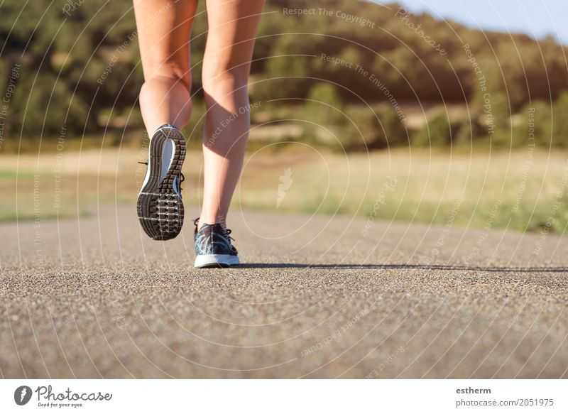 Girl running on the road Human being Youth (Young adults) Young woman Joy Adults Life Lifestyle Legs Sports Feminine Feet Moody Leisure and hobbies Contentment