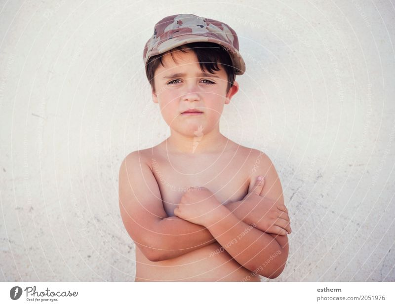 sad boy, disappointed child Lifestyle Freedom Human being Masculine Child Toddler Boy (child) Infancy 1 3 - 8 years Cap Rebellious Sadness Concern Homesickness