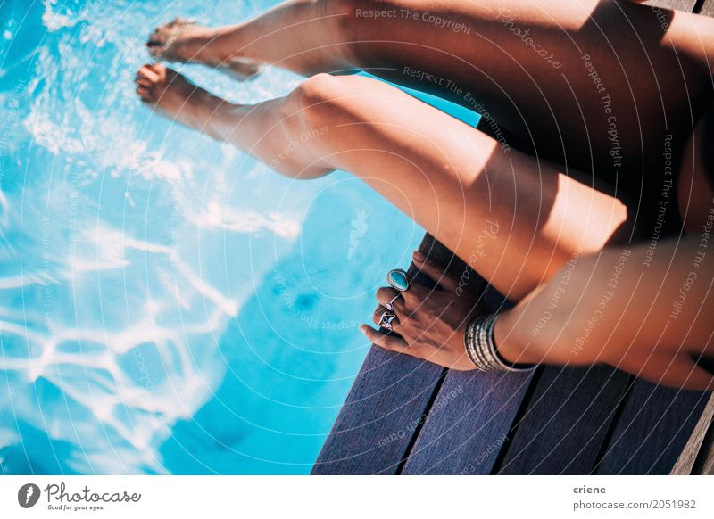 Close-up of woman relaxing at swimming pool Human being Woman Vacation & Travel Youth (Young adults) Summer Young woman Eroticism Relaxation Joy Adults Warmth