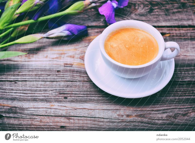 cup of coffee on a gray wooden surface White Flower Wood Brown Above Fresh Retro Table Beverage Coffee Bouquet Hot Breakfast Restaurant Café Crack & Rip & Tear