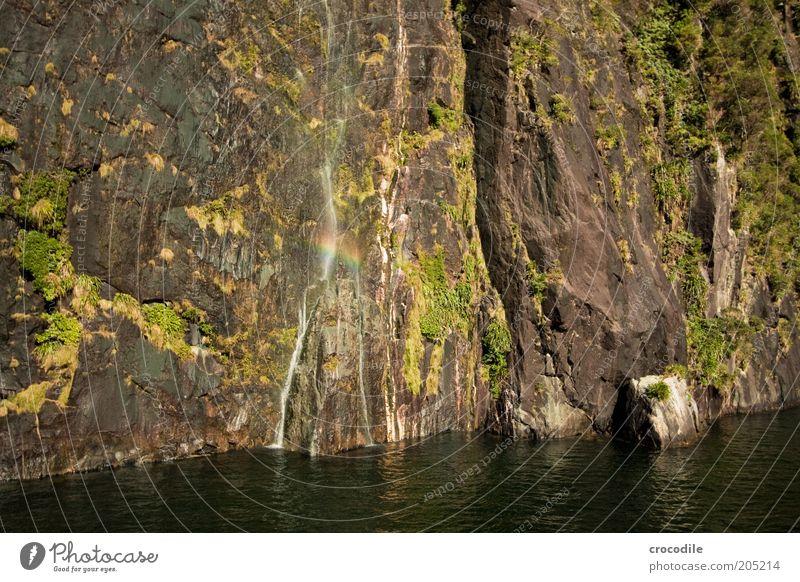 Nature Ocean Mountain Landscape Environment Coast Island Esthetic Bay Waterfall Rainbow Beautiful weather Fjord Milford Sound