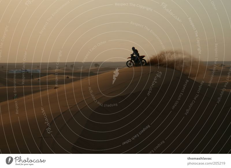 Motorcycle on sand dune Vacation & Travel Trip Adventure Motorsports Ride 1 Human being Environment Landscape Sand Sunrise Sunset Beautiful weather Desert