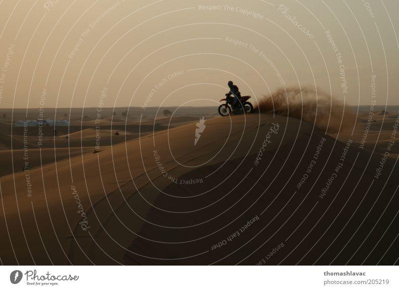 Motorcycle on sand dune Vacation & Travel Trip Adventure Motorsports Ride 1 Human being Environment Landscape Sand Sunrise Sunset Beautiful weather Desert