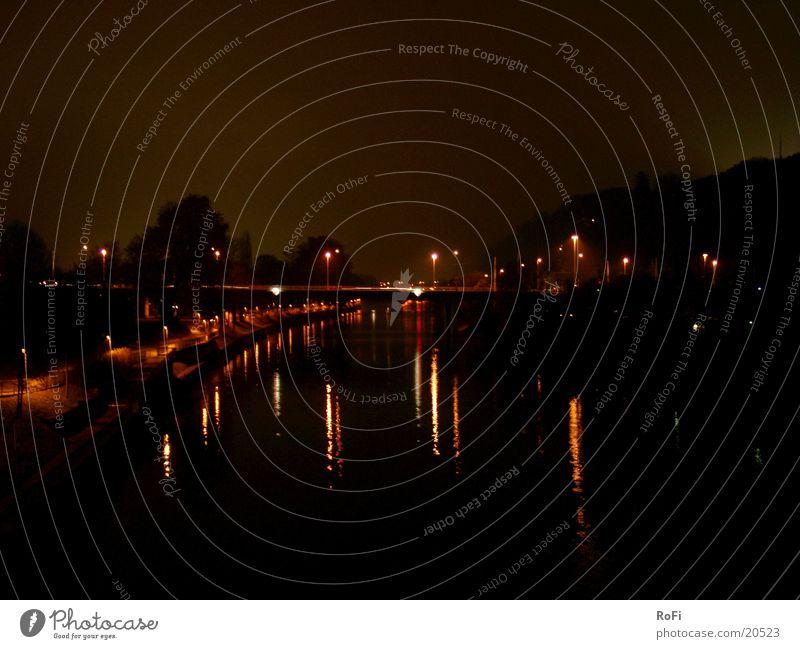 Water Black Lamp Dark Bridge River Water reflection