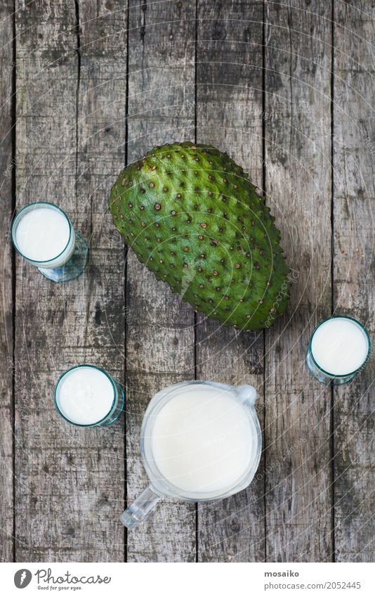 Smoothie of Guanabana - Tropical Fruit - Summer time Green Healthy Eating White Natural Wood Fresh Table Beverage Drinking Delicious Breakfast Exotic Dessert