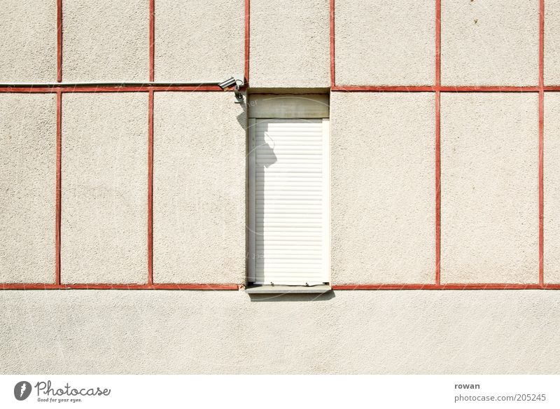 House (Residential Structure) Wall (building) Window Wall (barrier) Building Architecture Facade Safety Gloomy Division Manmade structures Copy Space left Video camera Captured Plaster Grid