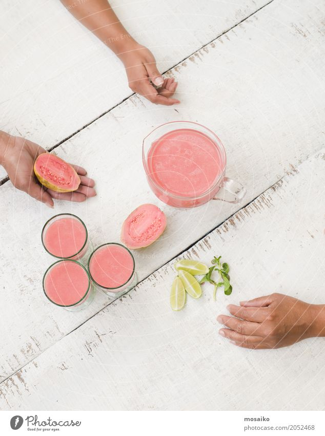Guave Smoothie on white Table Vegetable Fruit Nutrition Eating Vegetarian diet Diet Juice Lifestyle Luxury Design Exotic Healthy Eating Summer Human being Woman