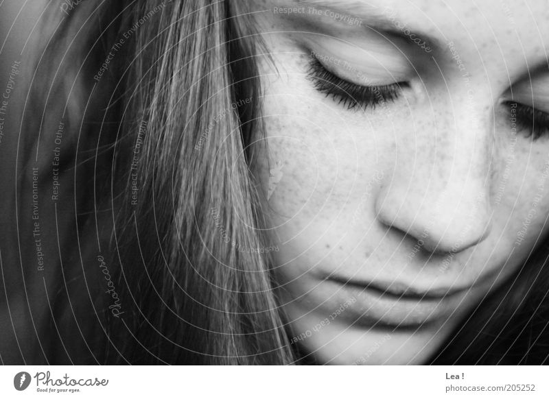 Human being Youth (Young adults) Face Calm Feminine Think Near Meditative Black & white photo Boredom Freckles Long-haired Eyelash 13 - 18 years