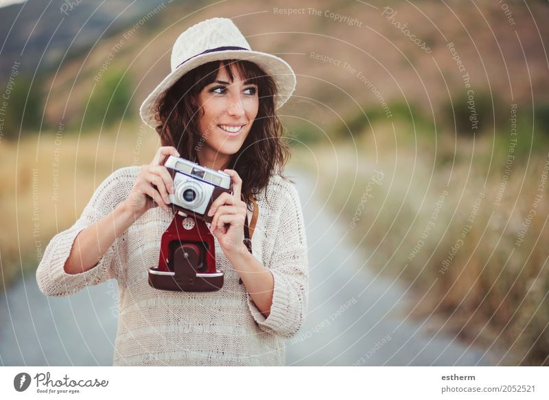 Smiling girl with camera in the field Human being Woman Vacation & Travel Youth (Young adults) Young woman Relaxation Joy Adults Life Lifestyle Feminine Style