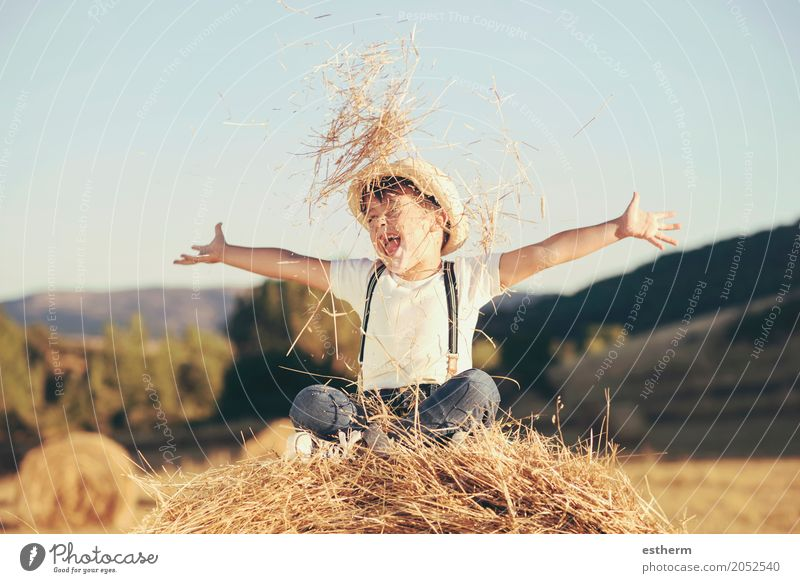 Kid playing in wheat field. Happy child on a field with bales harvest Lifestyle Joy Wellness Human being Masculine Child Toddler Boy (child) Infancy 1