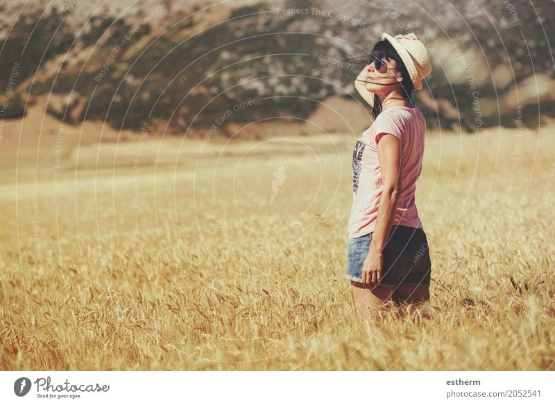 Thoughtful girl in the wheat field Lifestyle Joy Wellness Relaxation Vacation & Travel Trip Adventure Freedom Human being Feminine Young woman