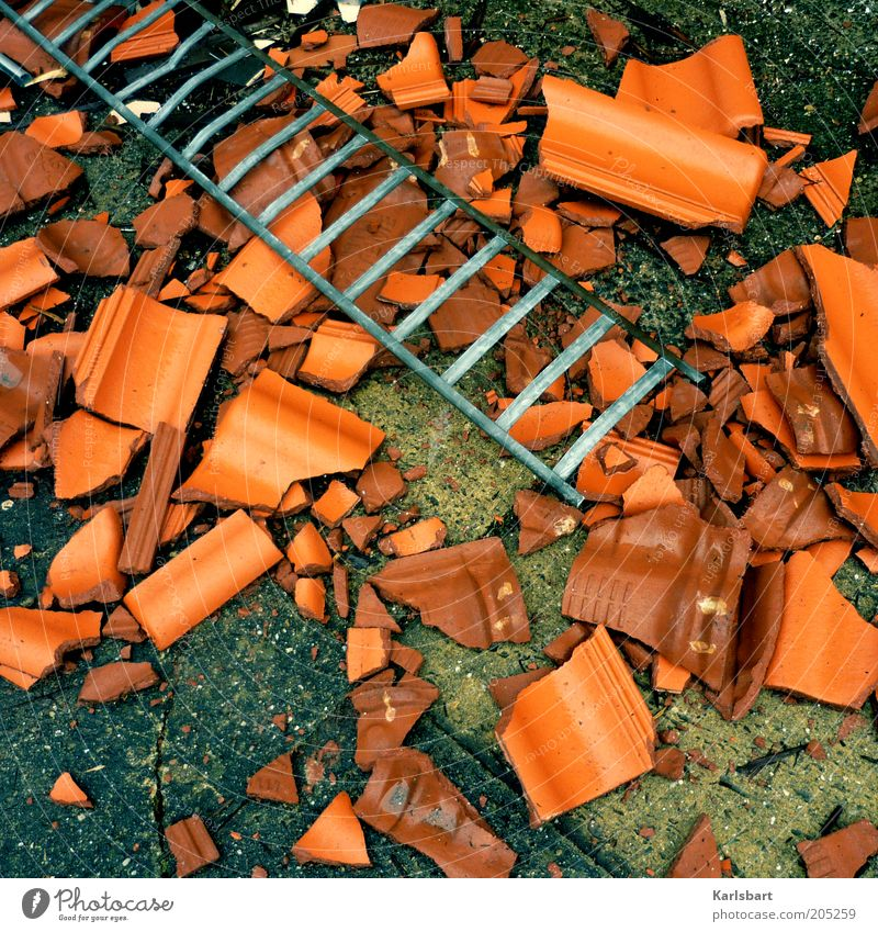 clay. stones. shards. Home improvement House building Redecorate Construction site Economy Craft (trade) Ground Stone Change Renewal Roofing tile Clay Ladder