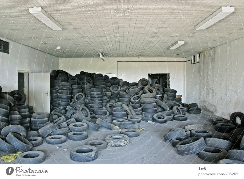Old Environment Industry Future Trash Workshop Tire Warehouse Collection Chaos Environmental pollution Sustainability Rubber Untidy Squander Car tire