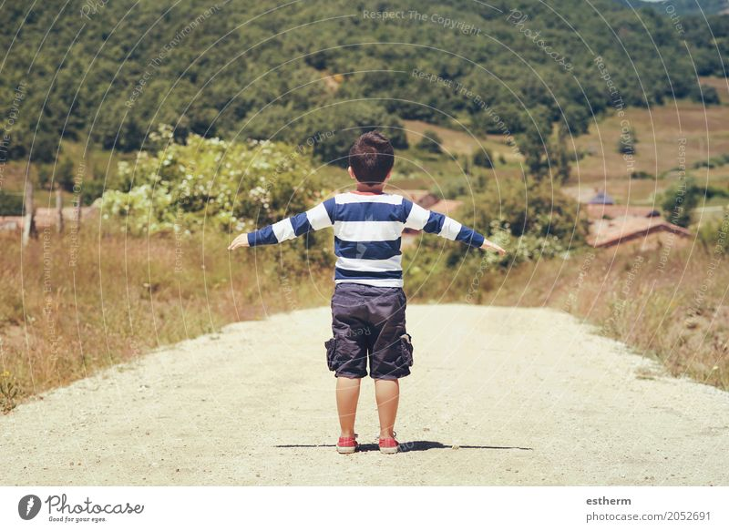 Little boy playing outdoor. little boy with hands up Human being Child Nature Vacation & Travel Summer Landscape Joy Forest Lifestyle Spring Emotions