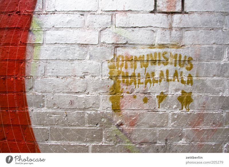 Communism Schalalalala Shalalala Graffiti Characters Lettering Typography Vandalism Culture Youth culture Wall (barrier) Seam Silver Keyword Information