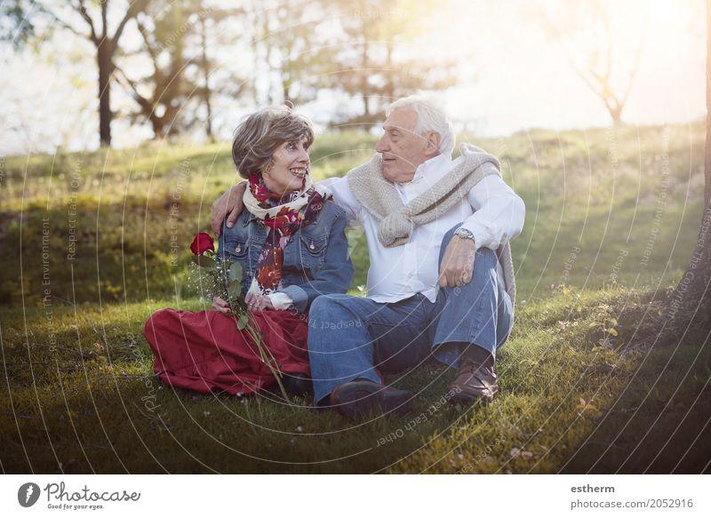 Portrait Of Romantic Senior Couple Human being Lifestyle Love Senior citizen Emotions Feminine Laughter Family & Relations Happy Garden Feasts & Celebrations Couple Together Masculine Park Sit