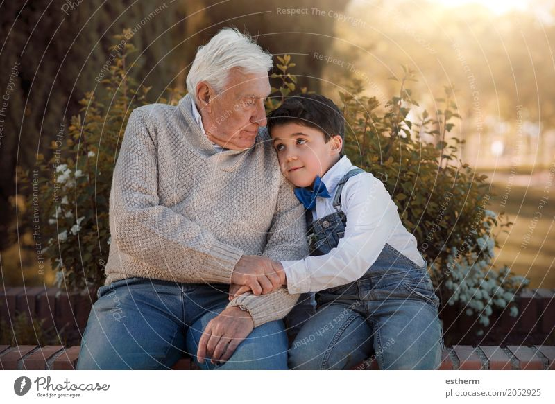 Portrait of grandfather and grandson embracing Human being Child Joy Lifestyle Love Senior citizen Emotions Boy (child) Family & Relations Garden Together