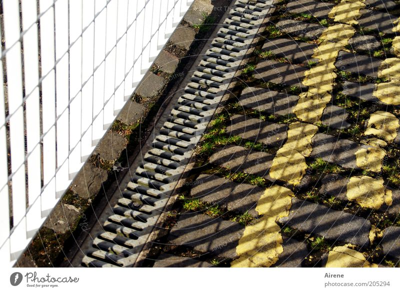 White Yellow Street Gray Stone Metal Stripe Fence Barrier Seam Grating Copy Space Paving stone Sharp-edged Roadside Lane markings