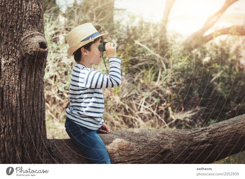 boy exploring the outdoors with binoculars Human being Child Vacation & Travel Summer Joy Far-off places Forest Lifestyle Spring Autumn Emotions Boy (child) Freedom Tourism Trip Infancy