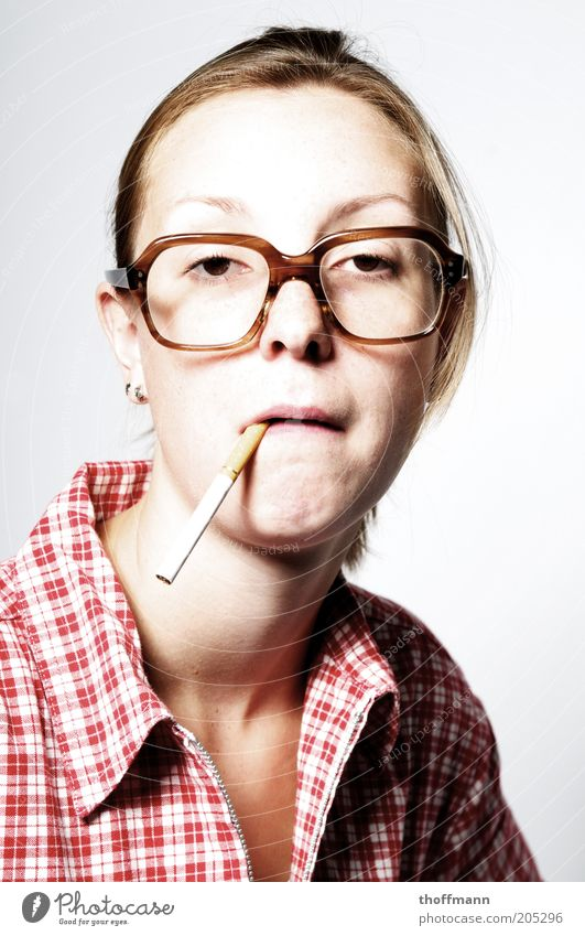 Woman Human being Youth (Young adults) Face Life Feminine Funny Adults Eyeglasses Smoking Uniqueness Cigarette Shirt Stupid Whimsical Facial expression