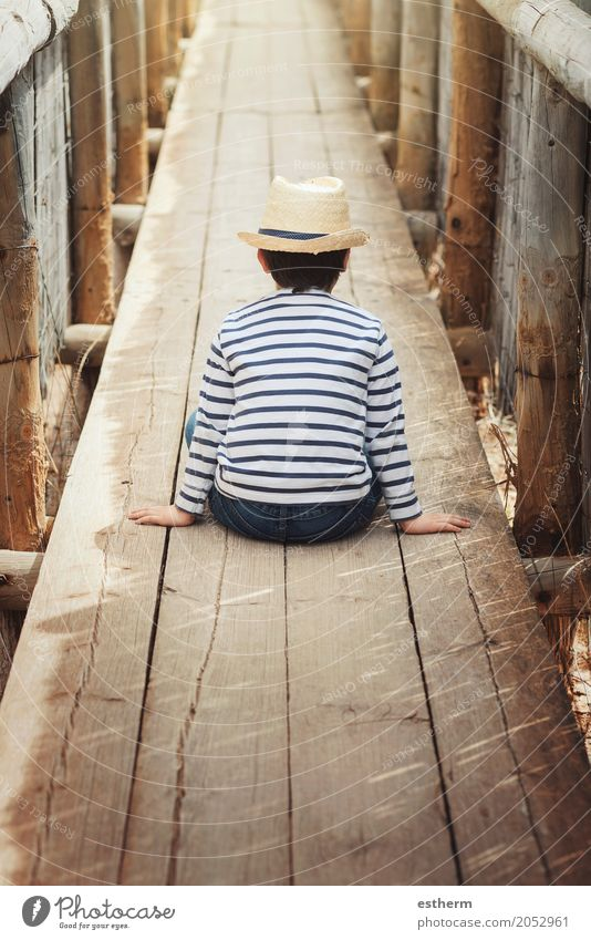 Little thoughtful boy Human being Child Vacation & Travel Summer Loneliness Lifestyle Sadness Spring Autumn Love Emotions Boy (child) Freedom Dream Infancy