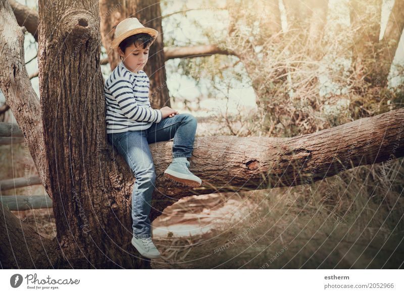 thoughtful boy Human being Child Vacation & Travel Summer Forest Lifestyle Sadness Spring Meadow Feminine Boy (child) Freedom Dream Field Infancy Adventure