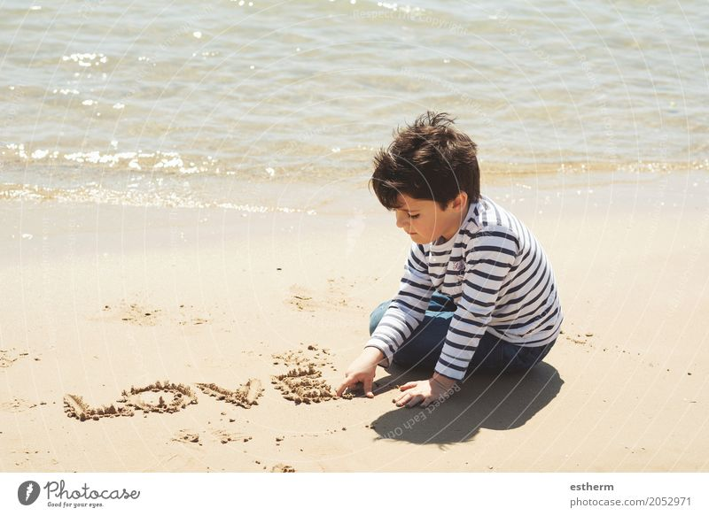 Sad boy sitting Human being Child Vacation & Travel Summer Loneliness Beach Lifestyle Sadness Spring Love Boy (child) Freedom Moody Together Friendship Dream