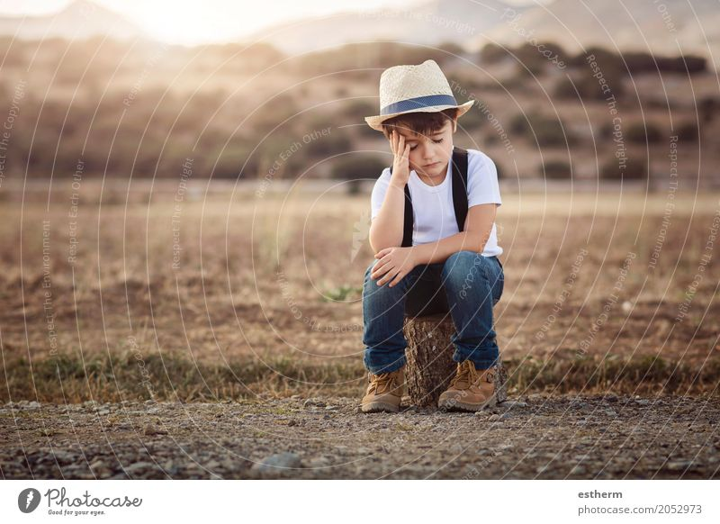 Little thoughtful boy Lifestyle Adventure Freedom Human being Child Toddler Boy (child) Infancy 1 3 - 8 years Environment Spring Summer Meadow Field Sadness