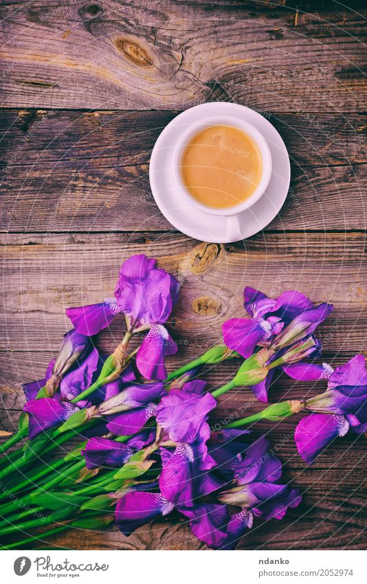 bouquet of irises and a cup of coffee Breakfast Coffee Espresso Mug Table Restaurant Flower Bouquet Wood Fresh Hot Above Retro Violet White Iris Purple Café