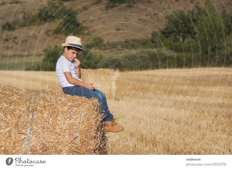 Pensive boy Lifestyle Playing Vacation & Travel Tourism Trip Adventure Freedom Human being Masculine Child Toddler Infancy 1 3 - 8 years Nature Meadow Field
