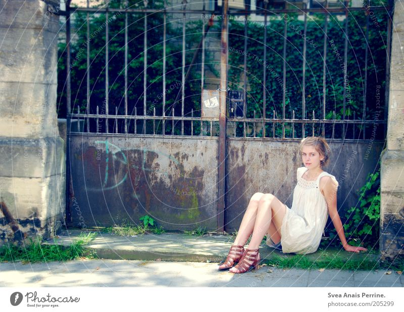 Human being Youth (Young adults) Beautiful Calm Feminine Contentment Footwear Blonde Facade Sit Elegant Observe Dress Young woman Thin Friendliness