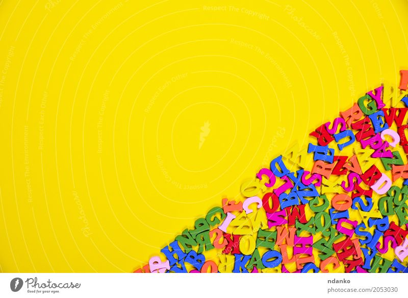 multicolored letters of the English alphabet Colour Joy Yellow Wood Above Decoration Symbols and metaphors Card Education Word Text Conceptual design