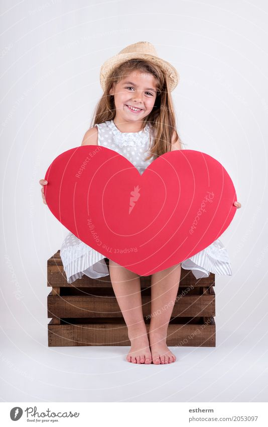 happy child laughing girl with heart Valentine's Lifestyle Feasts & Celebrations Valentine's Day Mother's Day Human being Girl Infancy 1 3 - 8 years Child Heart