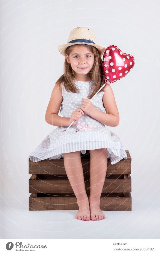 happy child laughing girl with heart Valentine's Lifestyle Party Event Feasts & Celebrations Valentine's Day Mother's Day Human being Feminine Girl Infancy 1