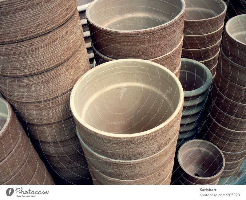 around. Style Design Colour Pottery Flowerpot Stack Size Size difference Large Small Clay Clay pot Earth colour Colour photo Interior shot Close-up Deserted Day