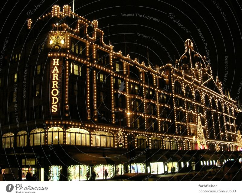 Harrods by night London Great Britain Night Fairy lights Shop window Christmas decoration Christmas & Advent Architecture Christmas fairy lights