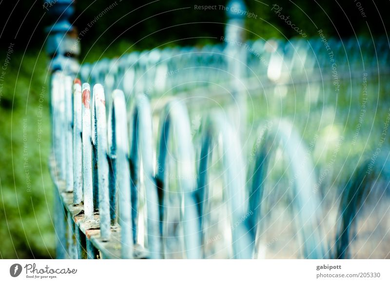 shallow depth of field Handrail Fence Fence post Iron Blue Green Decline Round Thorough Barrier Boundary Colour photo Exterior shot Deserted Day Sunlight
