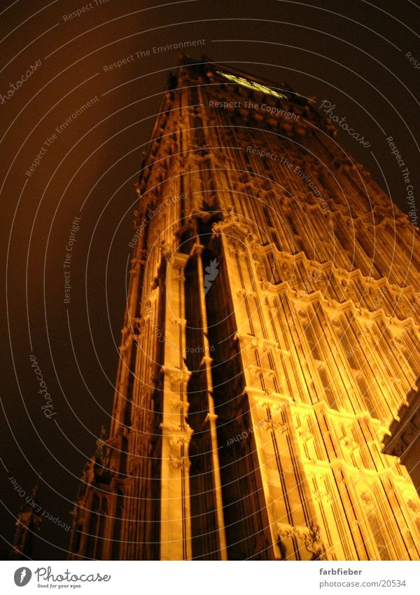 Big Ben by night London Great Britain Night Worm's-eye view Illuminate Architecture Landmark Monument extreme perspective phenomenal Tall