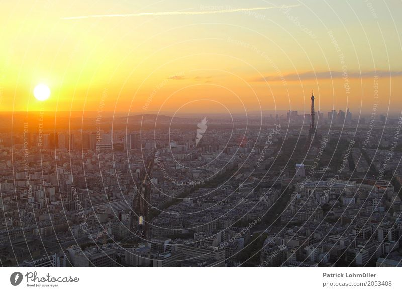 Sunset over Paris Vacation & Travel Tourism Sightseeing City trip Architecture Environment Sky Clouds Spring Beautiful weather France Europe Capital city