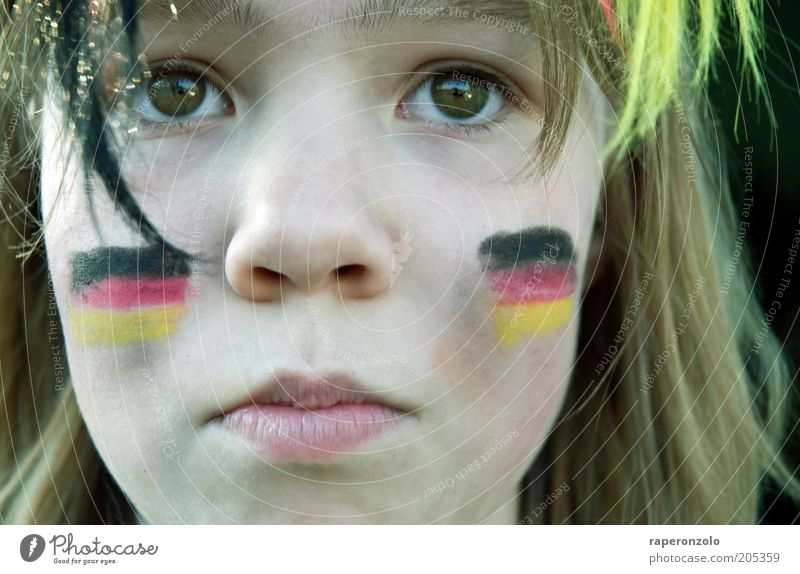 oooh schland ... Face Audience Fan Loser Infancy Eyes Nose 1 Human being Sadness Hope German Flag Thrashing Wearing makeup patriotic football fan Puppy love