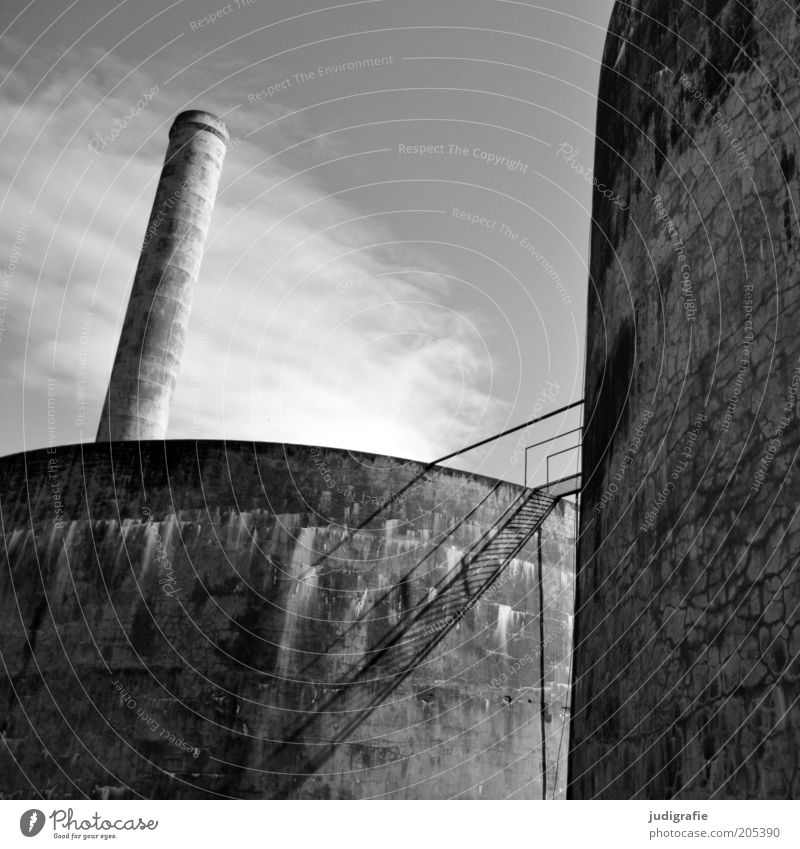 Iceland Economy Factory Manmade structures Chimney Old Broken Transience Change Fish  factory Stairs Concrete Sky Clouds Black & white photo Exterior shot