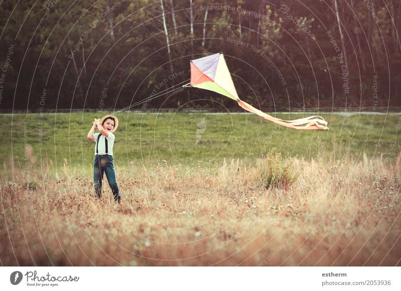 Boy with kite Human being Child Nature Joy Lifestyle Spring Meadow Boy (child) Laughter Playing Freedom Moody Dream Park Field Infancy