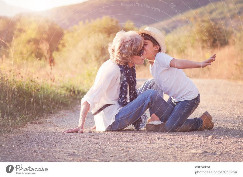 Grandmother with her grandchild Human being Child Woman Joy Adults Life Lifestyle Love Senior citizen Emotions Feminine Boy (child) Family & Relations Together