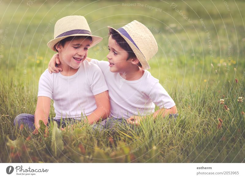brothers Human being Child Nature Landscape Joy Lifestyle Spring Love Emotions Meadow Boy (child) Laughter Family & Relations Happy Garden Together