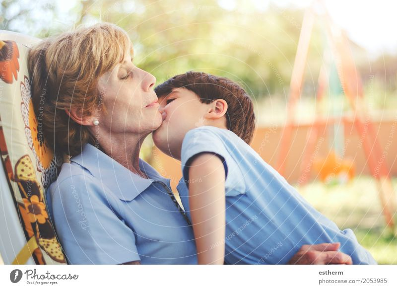 Boy kissing his grandmother Human being Child Woman Relaxation Joy Girl Adults Life Lifestyle Senior citizen Emotions Family & Relations Together Friendship