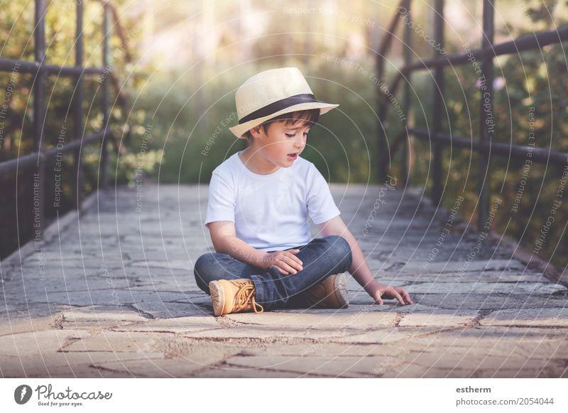 happy child Lifestyle Wellness Human being Child Toddler Boy (child) Infancy 1 3 - 8 years Landscape Spring Garden Field Sit Romp Cuddly Curiosity Emotions Joy
