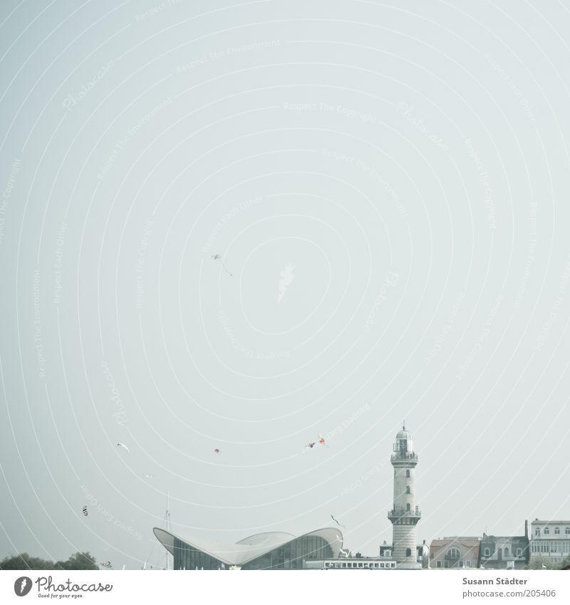 Warnemünde 10 Town Port City Lighthouse Historic Warnemünder Teapot Sky Cloudless sky Vacation destination Tourism Subdued colour Exterior shot Deserted