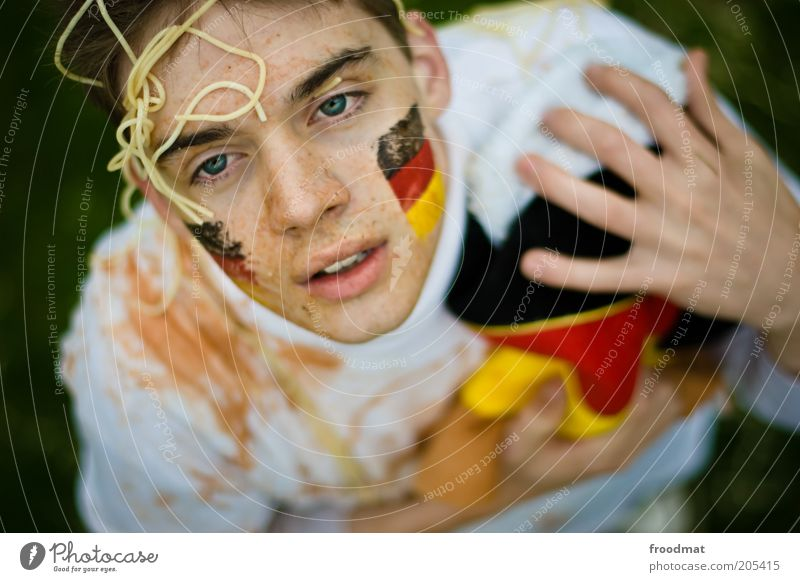 Human being Youth (Young adults) Face Sports Masculine Flag Bodypainting Audience Facial expression Noodles Fan Painted Disappointment Spaghetti World Cup