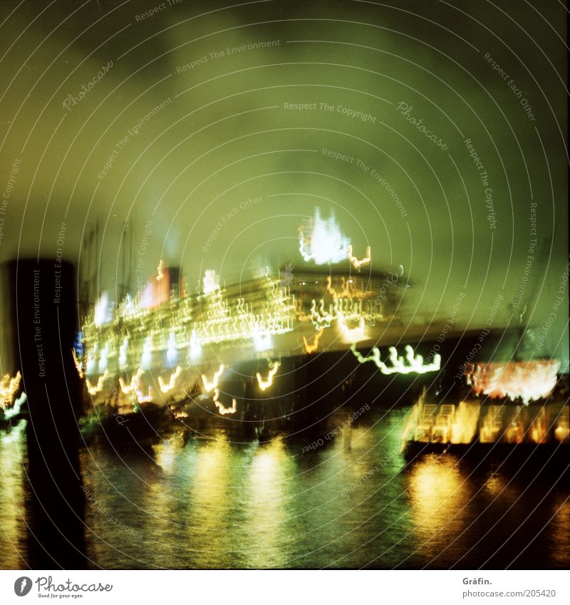 Green Black Dark Movement Glittering Large Hamburg Illuminate River Harbour Luxury Mobility Navigation Night sky Elbe Cruise