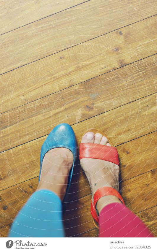 more variety2 Feet Toes Footwear Sandal High heels Wooden floor Blue Red False alternation Crazy Alzheimer's Irritation Exceptional Brave Joy Absurdity cladding